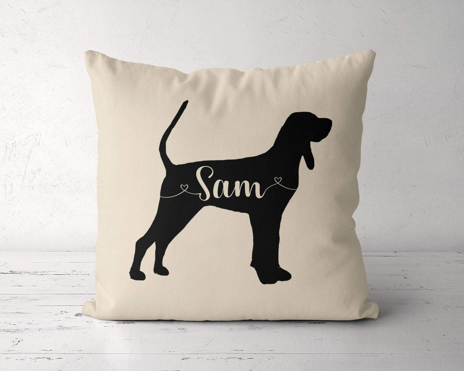 Custom Black and Tan Coonhound Pillow, Personalized Coonhound Pillow Case Cover, Birthday Gift for Coonhound Owner Lover, Coonhound Dog Mom without Insert,Housewarming Gift to Lover Family Friend