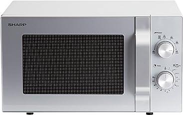 SHARP R-204S Solo-Kompakt-Mikrowelle / 800 W / 20 L / Mechanische Steuerung / 6 Leistungsstufen / Gewichtgesteuertes Auftauen / Silber