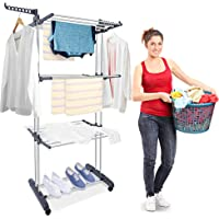Jeenone Clothes Drying Rack, 3-Tier Collapsible Rolling Dryer Clothes Hanger Adjustable Large Stainless Steel Garment…