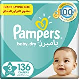 Pampers Baby-Dry Diapers, Size 3, Midi, 6-10 kg, Giant Box, 136 Count