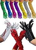 Foxxeo 1002X | Lange Deluxe Handschuhe | In den Farben schwarz, weiß, rot | weiss glänzend lange schwarze zum 20er Jahre rote Damen Kostüm, Größe:M;Farbe:Schwarz
