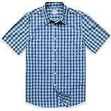 Dubinik - Camisa de manga corta a cuadros para hombre, con botones, de algodón, de estilo informal y de corte recto, con dos