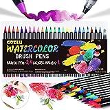 Gozlu Pennarelli Acquerellabili, 24 Brush Pen Lettering con Flessibile Nylon + 1 Pennello Acqua + 8 Carta Acquerello, Pennare