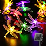 Solar Garden String Lights 6.4M/20.8FT 30 LED Outdoor Fairy String Lights with 8 Modes, Waterproof Dragonfly Lights for Outsi
