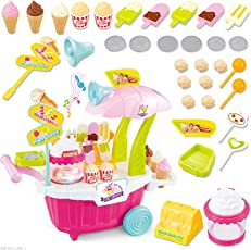 Babytintin Learning and Educational Luxury Battery Operated with Music and LED Ice Cream/Sweet Cart Trolley for Boys and Girls, 3 Years (Multicolour)