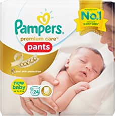 Pampers Premium Care Pants Style Diapers, New Born Size, White (24 Count)