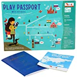CocoMoco Kids Play Passport for Kids, Geography Educational Toy Activity Kit with Reusable Stickers and World Map for Kids, R