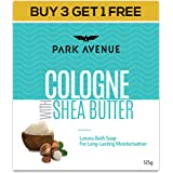 Park Avenue Cologne with Shea Butter Soap for Moisturising and Skin Nourishment, 125gm, Buy 3 Get 1 Free