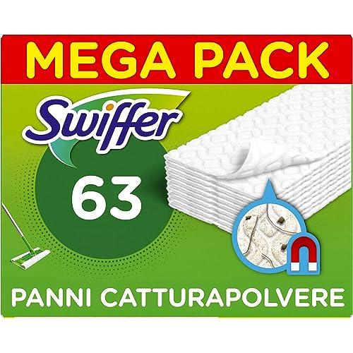 Swiffer Ricambi Panni per Scopa 63 Pezzi, per Catturare e Intrappolare 3 Volte più Polvere, Sporco e Peli di Una Scopa Tradizionale