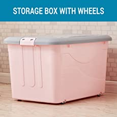 TIED RIBBONS Plastic Multipurpose Storage Container with Closing Lid, Wheels and Side Locking Handles(Pink, Full)