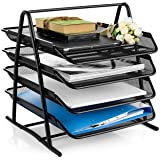 VeleSolv 4-Tier Metal Mesh A4 Size Files Rack File Desk Organizer with Slidable Compartments - Black