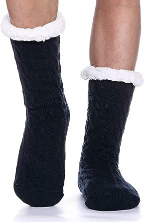 ProEtrade Calzini da pantofola sfocati da uomo per ragazzi Calzini invernali morbidi e spessi foderati in pile pesanti con calze di Natale