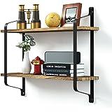 Love-KANKEI® Wandregal Schweberegal Hängeregal mit 2 Ablagen aus Holz, U-Form, Metall-Rahmen, Wandboard in Verkohlungsaussehen