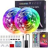 AOGUERBE Ruban à LED 20m, Bande LED 5050 RGB Améliorée Lumineuse Ruban LED Bluetooth/par télécommande pour Salon/Maison/Chamb