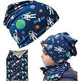 HECKBO Cappello, Beanie per Bambini + Girocollo - Ideale in Primavera, Estate, Autunno - Berretto Reversibile con Astronauta