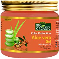INDUS VALLEY Bio Organic Color Protection Aloe Vera Gel With Argan Oil For Rich Colour & Shiny Hair - (175ml)