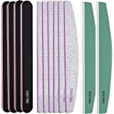 Roleelex 12 Pieces Nail Files and Buffers Professional Nail File Set Manicure Pedicure Tool Acrylic Nails Poly Gel Double Sid