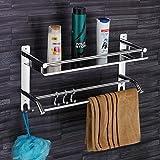 Plantex Elegant-Plus High Grade Stainless Steel Multipurpose 2 Tier Bathroom Shelf with Towel Holder/Towel Hooks…
