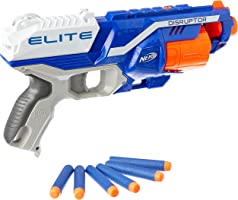Nerf Disruptor Elite Blaster -- 6-Dart Rotating Drum, Slam Fire, Includes 6 Official Nerf Elite Darts -- for Kids,...