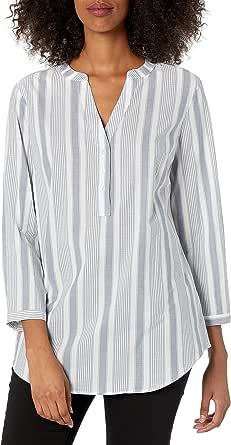 Amazon Essentials - Camicia da donna, a maniche lunghe, in cotone, con abbottonatura popover