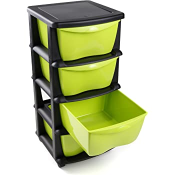 68ef9c875b6 Maxi Nature Kitchenware Plastic Storage Drawers on wheels heavy duty Black storage  containers cabinet 4 drawers