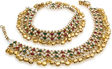 Charms Red & Green Diomond Studded with Sparkling Ghunghroo Gold Plated Alloy Anklet