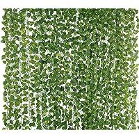 Artificial Garlands Hanging Leaves Greenery Vine Creeper Plants (Green, Set Of 6,8 Feet Each)
