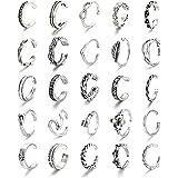CASSIECA 25 Pezzi Set di Anelli Aperti per Le Donne Ragazze Boho Vari Tipi di Anello per Articolazione Gioielli Vintage per P
