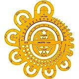 Aristo Afrondingssjabloon (met verschillende radialen en symbolen) transparant geel