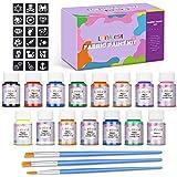 lenbest 15 Colores 20 ml Pintura para Tela y Ropa Permanente, Pintura Textil Permanente y Lavable con 3 Pinceles y 9 Patrones