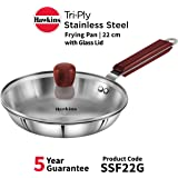 Hawkins - SSF22G Tri-ply Stainless Steel Frying Pan 22 cm with Glass Lid