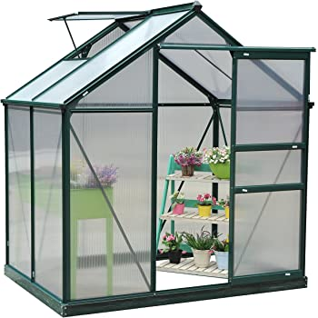 a8304aa6247 Outsunny Clear Polycarbonate Greenhouse Large Walk-In Green House Garden  Plants Grow Galvanized Base Aluminium Frame w Slide Door (6ft x 4ft)