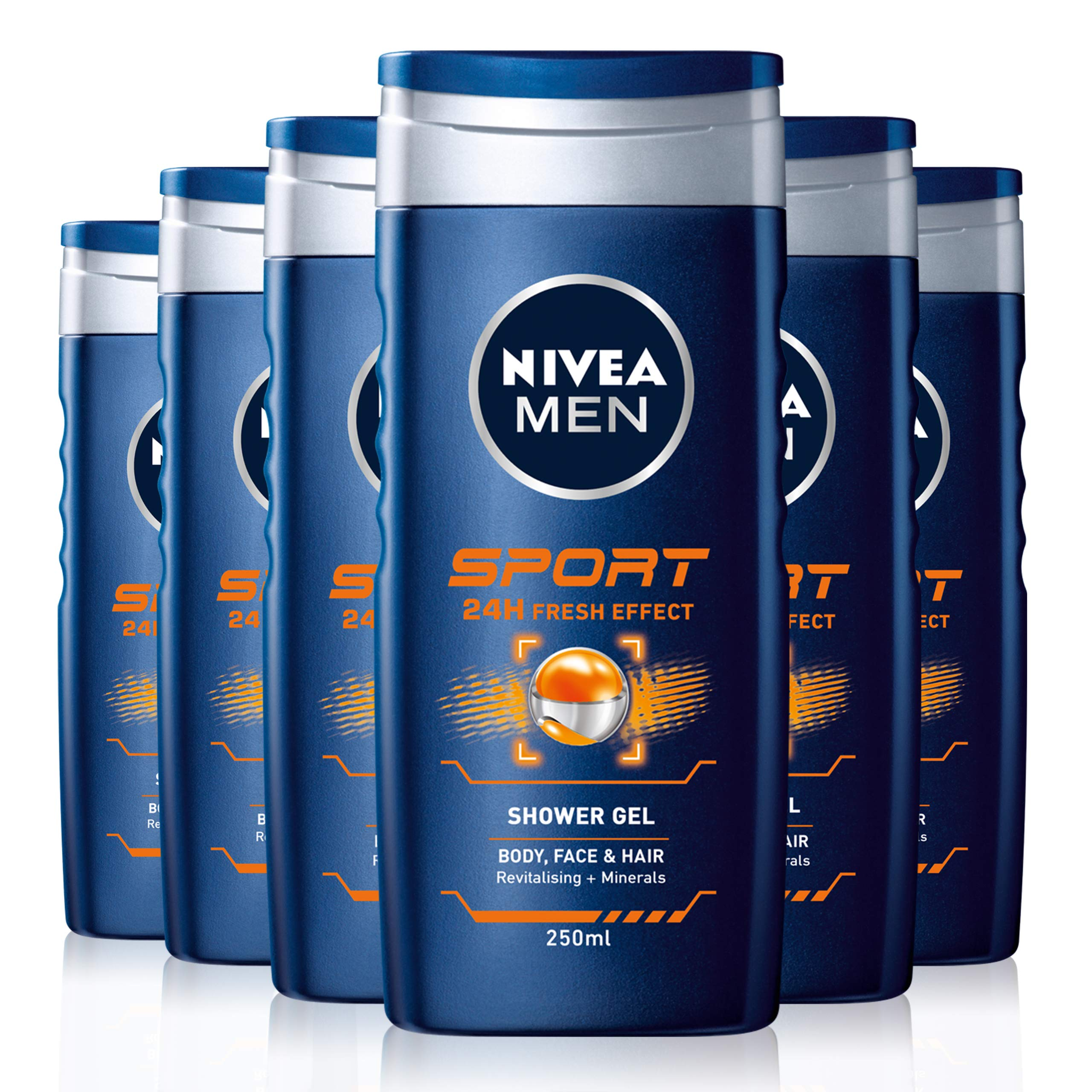 NIVEA MEN Sport Shower Gel Pack of 6 (6 x 500ml), Refreshing Body Wash with Lime Scent, All-in-1 Shower Gel for Men, Strong NIVEA MEN Shower Gel