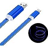 Geabon Micro USB Kabel, 1m Sichtbare LED Fließenden Licht Micro USB Ladekabel für Android Smartphones, Samsung, HTC, Sony, Nexus und mehr (Blau)