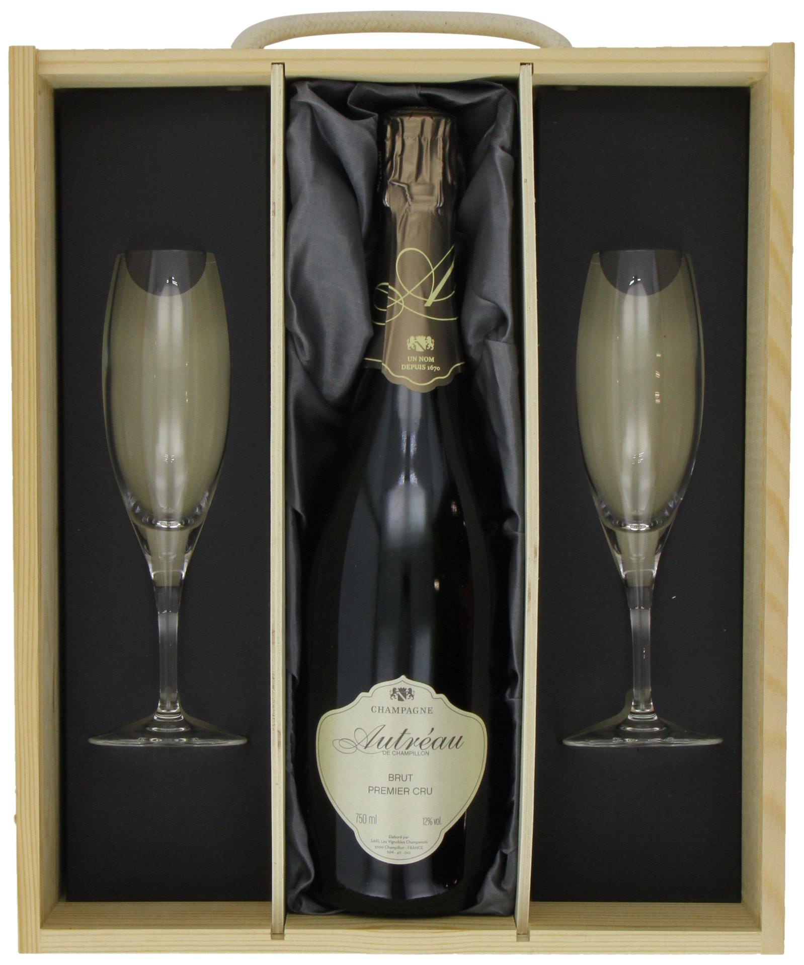 Autreau Brut Premier Cru with 2 Sensation Flutes in Gift Box Champagne Non Vintage, 75 cl