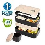 Umami Bento Original | Lunchbox Mit 2 Luftdichten Fächern Plus 3-Teiligem, Robusten Besteck | Geeignet Für Erwachsene Und...