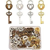 Cheriswely, ciondoli a forma di chiave tibetana, stile vintage, a forma di scheletro a forma di cuore, per creazione di…