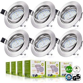 ebeb985ebb4d73 Bojim 6x LED Spots Encastrables Orientable GU10 Lampe de plafond Blanc du  Jour Plafonnier Encastré 6W