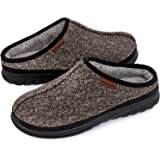FamilyFairy Men's Warm Microsuede Slippers Memory Foam Slip On Fuzzy Soft Plush Lining with Indoor Outdoor House Shoes