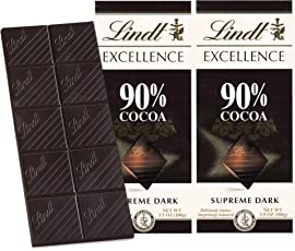 Lindt Excellence 90% Cocoa Dark Supreme Noir Chocolate Bar, 100g (Pack of 2)