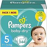 Pampers Couches Baby-Dry Taille 5 (11-16kg) Jusqu'à 12h Bien Au Sec et Avec Double-Barrière Anti-Fuites, 144 Couches (Pack 1