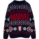 Marvel Comics Iconos héroe Puente de Punto para Hombres | mercancía Oficial | Feo Feria suéter de Navidad Puente Isla de Navi