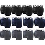 Boxer Uomo (Pacco da 12), Slip Mutande Cotone Elastico Colori Assortiti Nero Blu Grigio