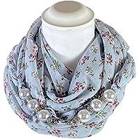 Sciarpa Gioiello Micro Fantasia Floreale Su Base Azzurro Con Perle In Resina E Cristalli Montati In Chiusura. Prodotto…