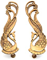 Two Moustaches Peacock Design 11 Inches Brass Door Handle Pair