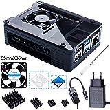Bruphny Case per Raspberry Pi 4 con 5V 3A USB-C Alimentatore, 35mm Ventola di Raffreddamento, 4 Dissipatore, Compatibile con Raspberry Pi 4 modello B (Grande Ventola + Grande Dissipatore)-Nero