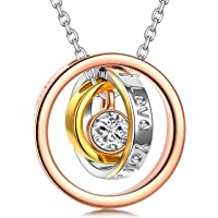 Kami Idea Necklace, Trinity, Three Rings Pendant, Crystal from Swarovski, Rose Gold, Women Jewellery, Gift Package - You are The Brightest Star in My Universe