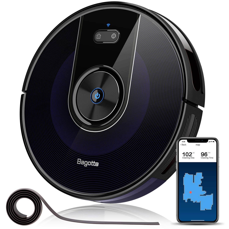 Bagotte BG800 Saugroboter, WLAN, Raumkarte, mit App & Alexa, für Tierhaare, Allergen, Teppiche, Hartböden