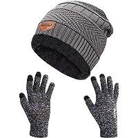 Petrunup Cappello Sciarpa e Guanti Touch Screen Uomo Invernali Berretto in Maglia con Sciarpa Beanie Collo della Ciarpa…