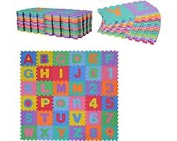 HOMCOM Alfombra Puzzle Infantil 36 Piezas de 31x31cm Números del 0 al 9 y 26 Letras Alfabeto Goma Espuma Alfombrilla de Juego